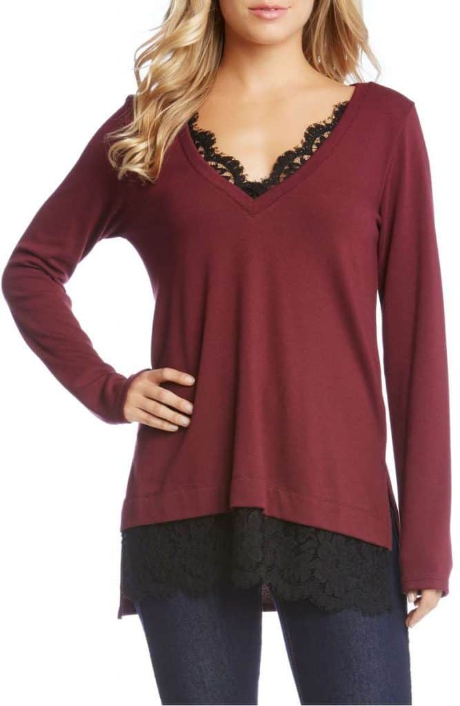 Karen Kane Lace Inset Sweater | Made in the USA at USA Love List