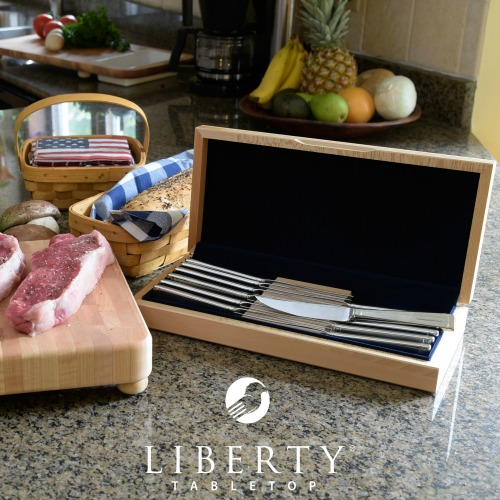 Liberty Tabletop Deluxe Knivfe 12pc Knife Set with Sycamore Case #madeinUSA #LibertyTabletop #tableware #weddinggifts #gifts