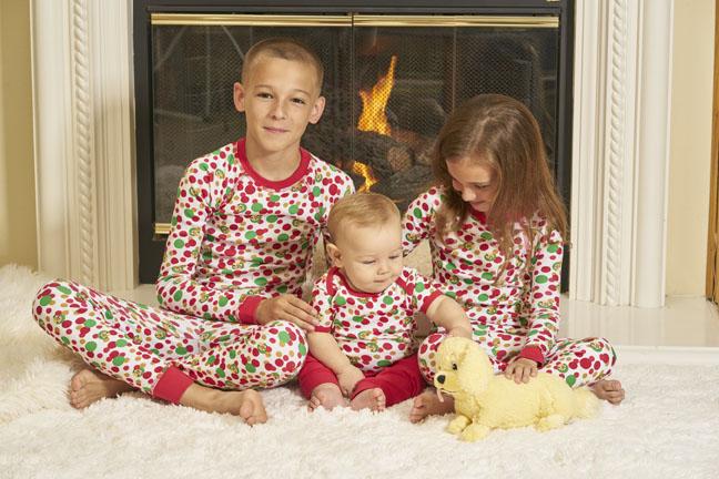 Holiday print organic children's pajamas made in USA