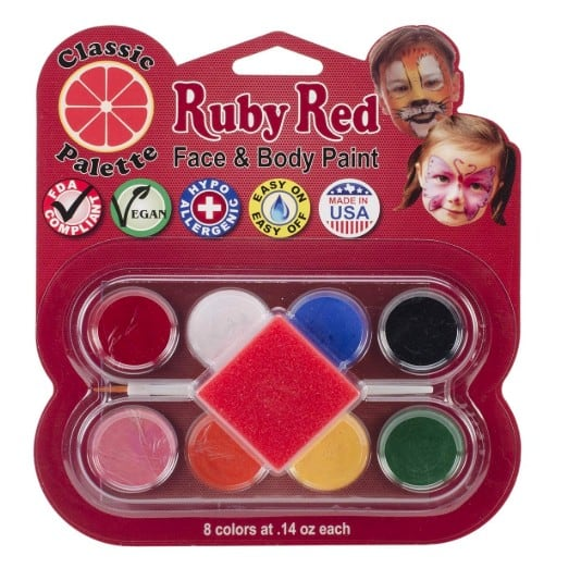 Face painting ideas with made in USA face paint: Ruby Red face and body paint #usalovelisted #facepainting #halloween