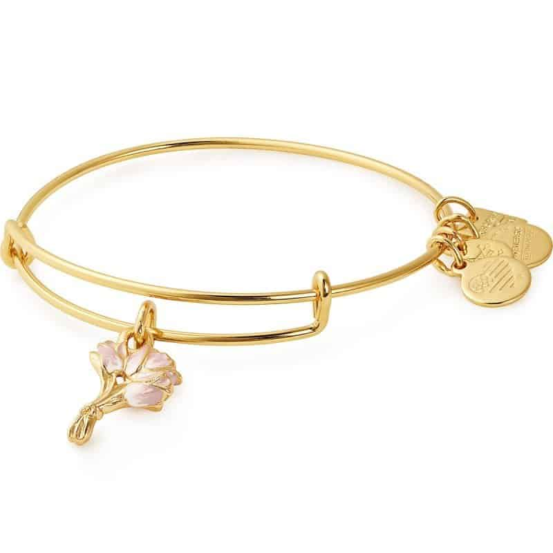 Alex & Ani's Made in USA Pink Tulips Charm Bangle benefits the Breast Cancer Research Foundation