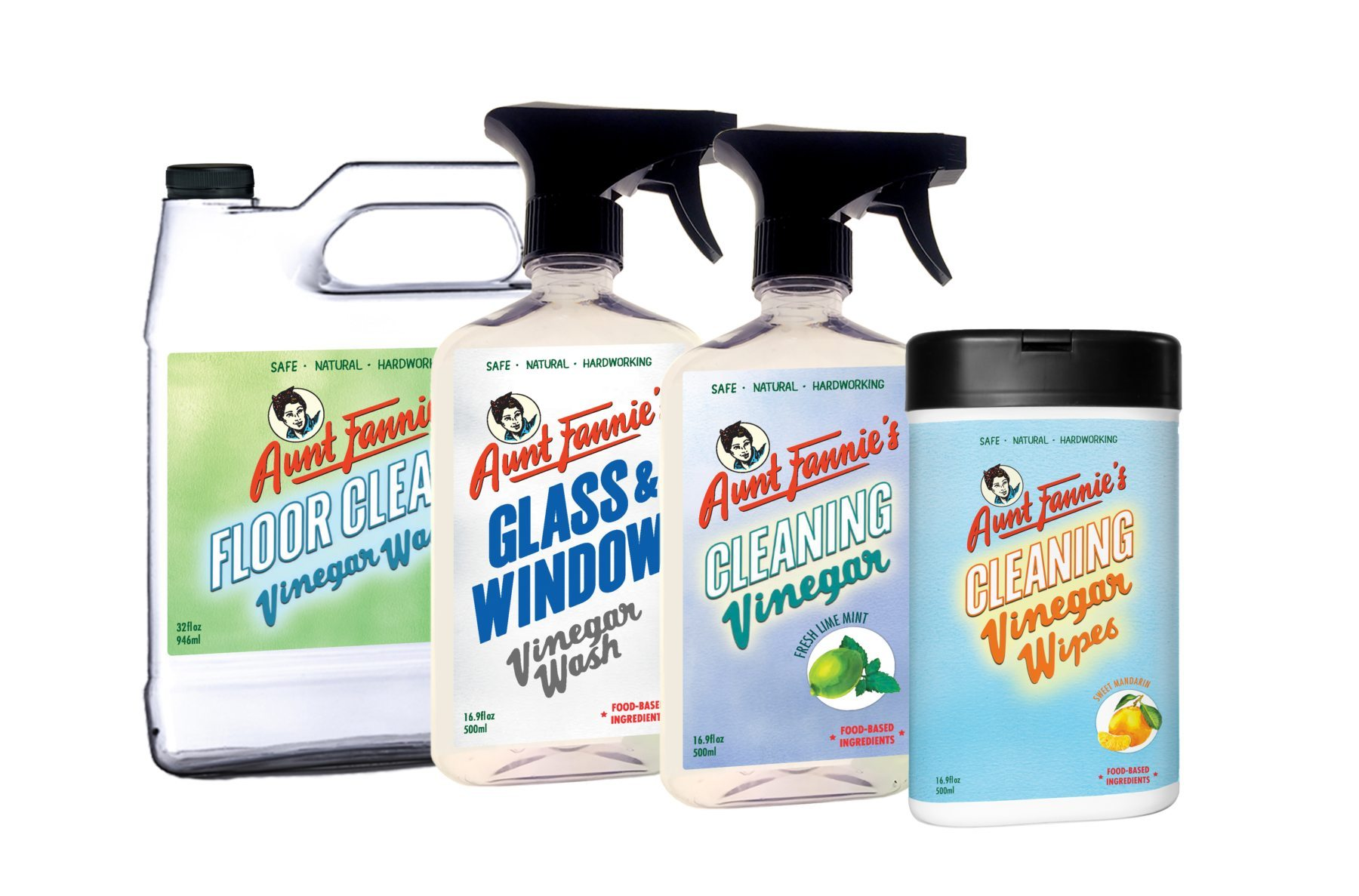 Aunt Fannie's Natural Non-Toxic Vinegar Based Cleaning Products - Fannie Pack with Biodegradable Cleaning Wipes
