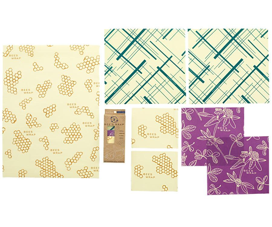 Bee's Wrap Reusable Wrap Made with Beeswax and Organic Cotton - Bread Wrap and Six Various Sized Wraps