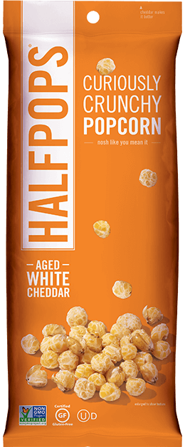 Halfpop Popcorn Brand - Aged Cheddar Crunchy Popcorn Made with Non-GMO and Organic Ingredients #popcorn #usalovelisted #snacktime