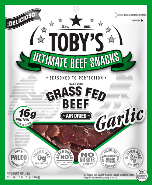 Grass Fed Garlic Biltong - Toby's Ultimate Beef Snacks - Paleo Friendly and Whole30 Jerky - No Sugar, Soy, Gluten, or Nitrates