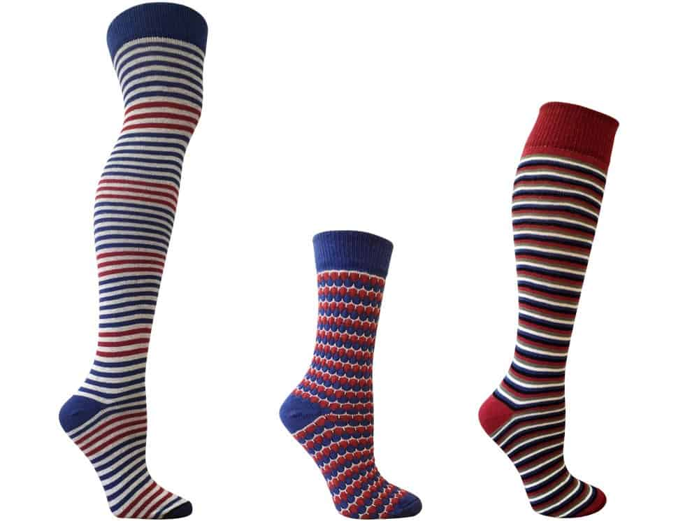15% off RocknSocks Upcycled and Organic Fashion Socks For Her - Knee-High Socks - Made in USA Socks: #socks #stockingstuffer #americanmade #madeinusa