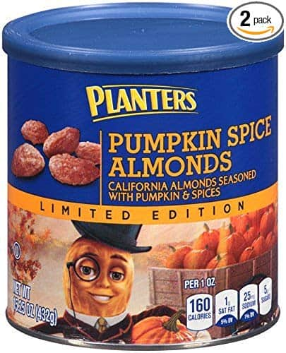 Pumpkin Spice products made in USA: Planters Pumpkin Spice Alomonds #usalovelisted #pumpkinspice