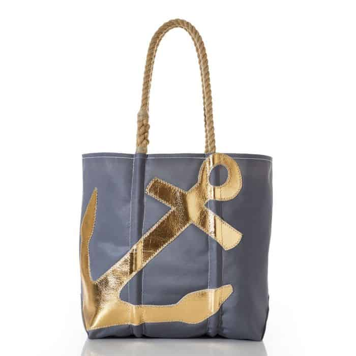 Sea Bags Gold on Grey Anchor Tote - Eco-Friendly Fashionista Gifts, Made in the USA - Sea bags Discount Code: 10% with code USALOVE