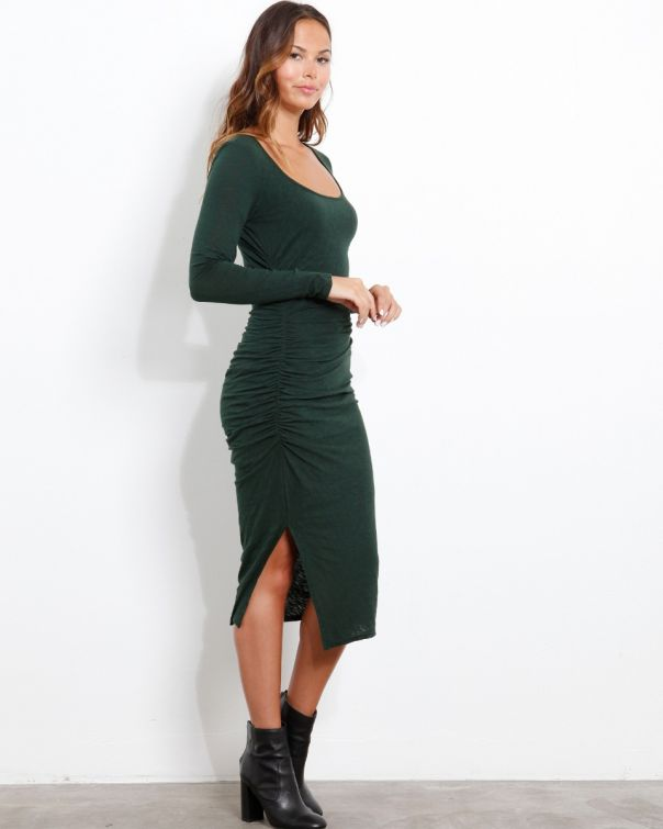 Three Dots Eco Knit Long Sleeve Shirred Dress - Made in USA Fashion, Made in Los Angeles, California