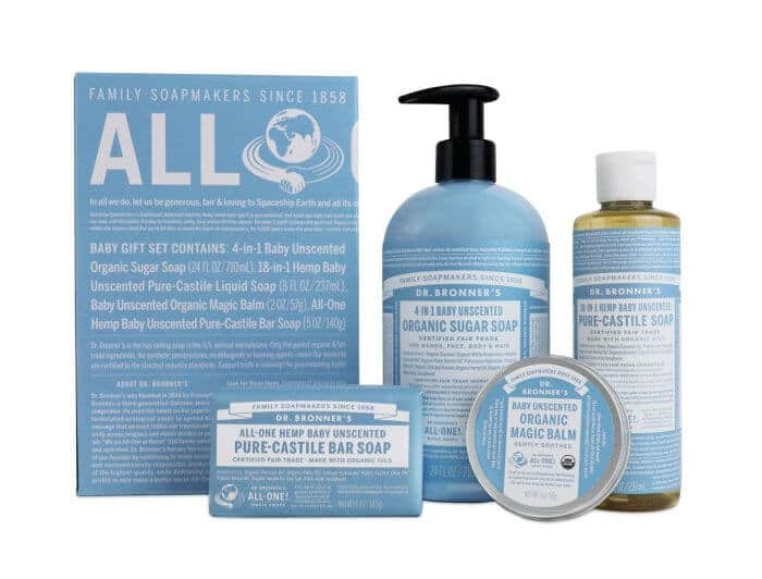 Dr. Bronner's Organic, Fair-Trade Unscented Baby Gift Set - American Made Since 1858