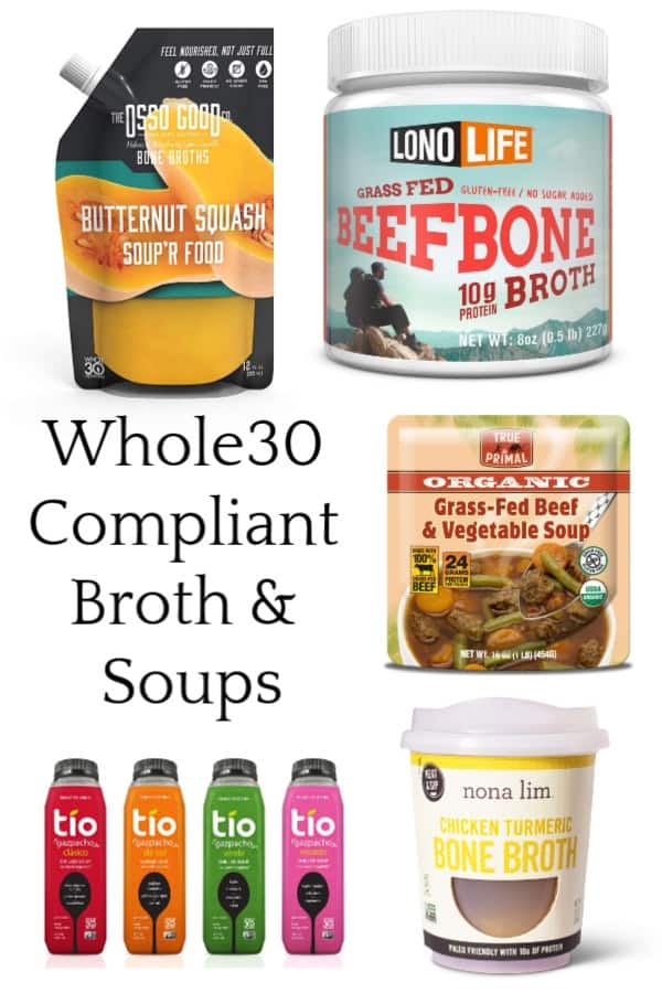 Whole30 Broth Brands and Canned Soups #bonebroth #sugarfree #whole30approved #paleo #soup
