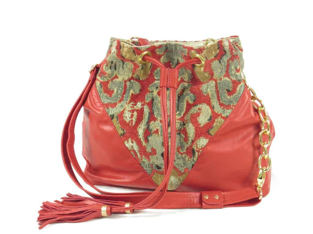 Beautiful Bags Etc. Boho Bucket Bag Red Leather and Tapestry Cross Body - American Made