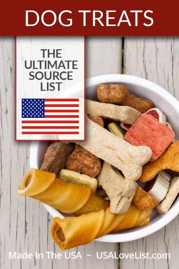 DOG TREATS MADE IN USA- A USA Love List Ultimate Source List #dogtreats #petsupplies #dog #usalovelisted