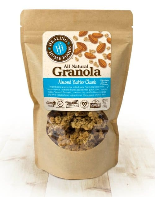 Made in USA Gluten Free Foods: Healing Home Foods Almond Butter Chunk Granola #usalovelisted #awardwinning #glutenfree #gmofree #granola