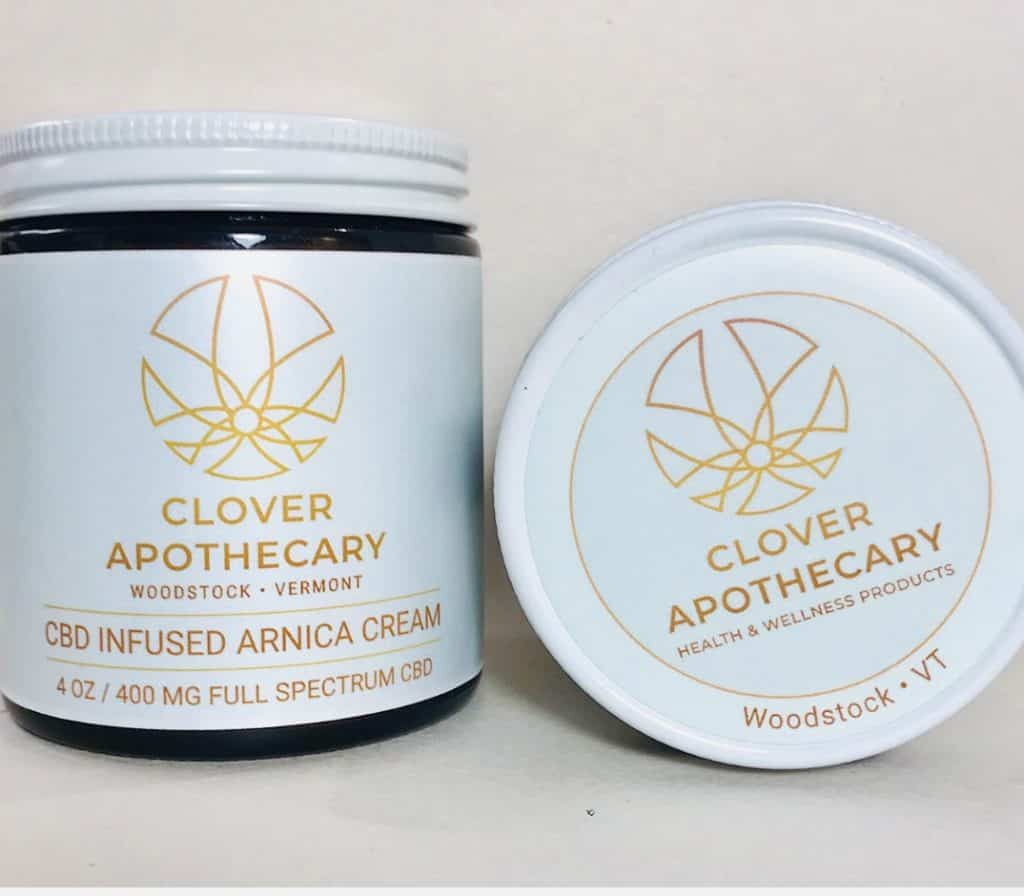 Clover Apothecary CBD Infused Arnica Cream - Made in Vermont with Vermont Grown Full Spectrum CBD - 20% off discount USALOVE #cbd #arnica #vermont #cbdheals #madeinusa