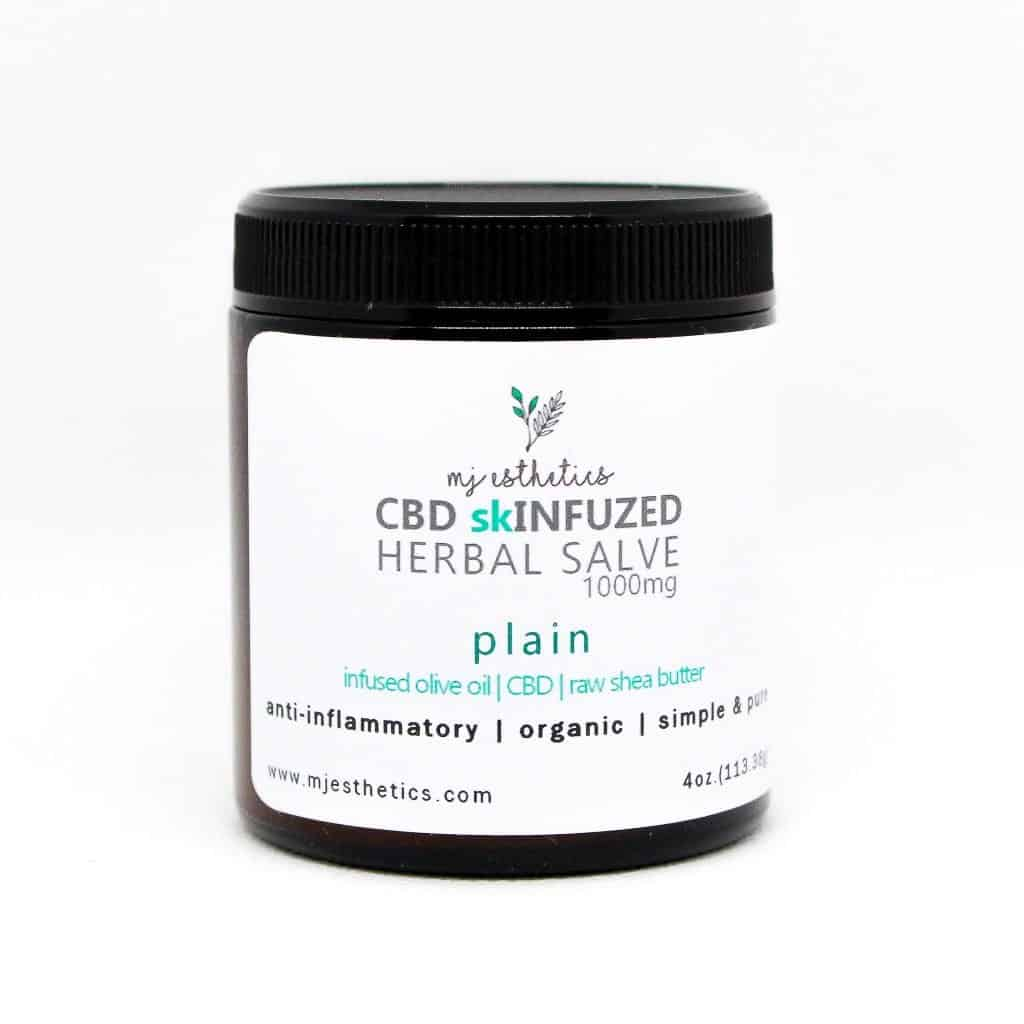 MJ Esthetics CBD Skinfuzed Herbal Salve - Organic CBD Skincare #cbdskincare #skincare #cbd #painsalve #hemp