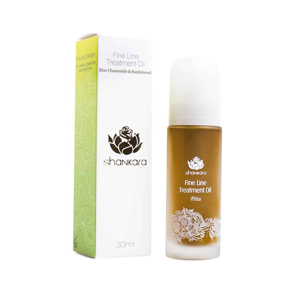 Cold Pressed Ayurvedic Beauty Line from Shankara Fine Line Treatment Facial Oil with Blue Chamomile & Sandalwood - 100 Pure Facial Oil to Calm, Protect and Maintain Balance in the T-Zone Area for Radiant Skin #Ayurvedic #beauty #crueltyfree #pitta