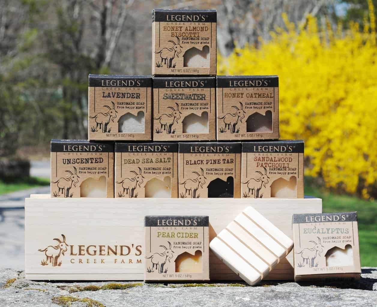 Made in Rhode Island: Legend's Creek Farm skin care products- goat milk soaps and herbal balms
