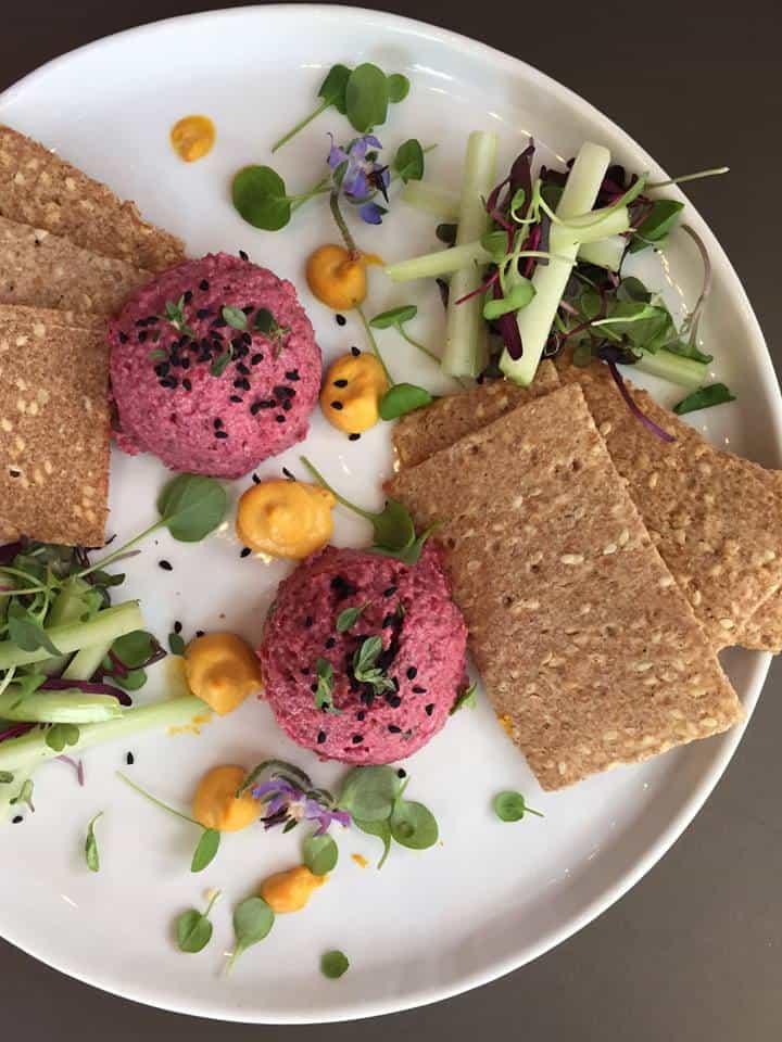 Best Vegan Restaurants in NYC: Sunflower Beet Hummus from Divya's Kitchen - Ayuvedic Cuisine in NYC - Vegan Nut-Free Hummus #nutfree #nyceats #veganeats #vegannyc #hummus #beets #ayuvedic