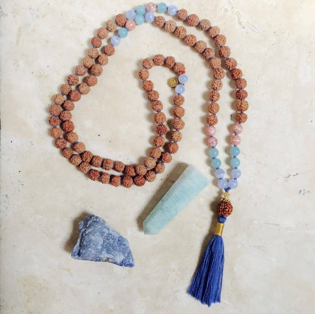Noelani Aloha Malas Rhodocrosite Necklace - American Made Mala Bead Necklace