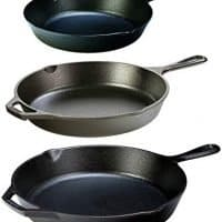 "Lodge Seasoned Cast Iron 3 Skillet Bundle. 12"" + 10.25"" + 8"" Set of 3 Cast Iron Frying Pans"