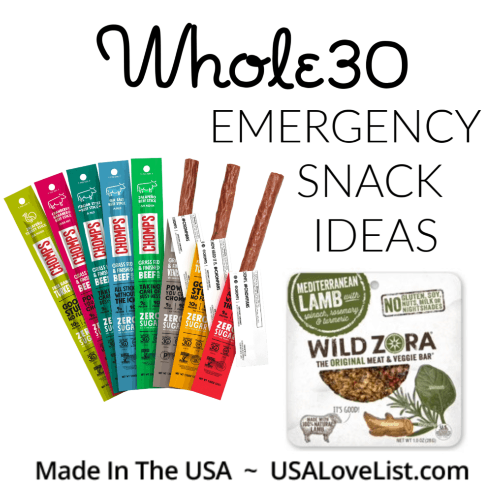 Whole30 Compliant Emergency Snack Ideas, Made in USA #usalovelisted #whole30