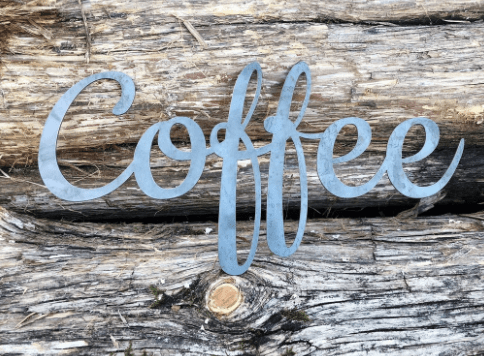 Gifts for Coffee Lovers: rustic metal sign by BE Creations & Design