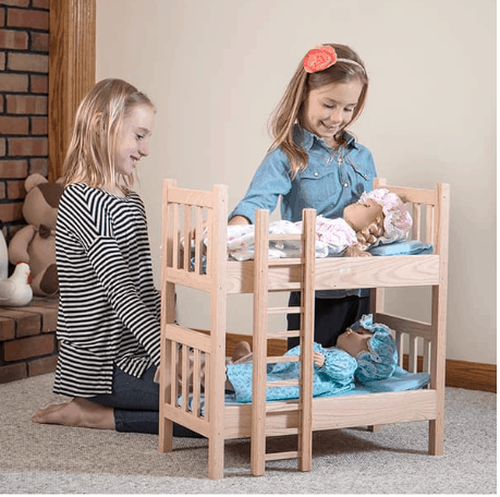 Gifts for Kids: Lehman's Amish crafted wooden doll furniture, doll clothing, and doll bedding. Perfect for American Girl Dolls #usalovelisted #madeinUSA
