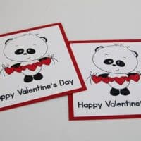 Hearts and Panda Bear School Valentine Mini Card Set