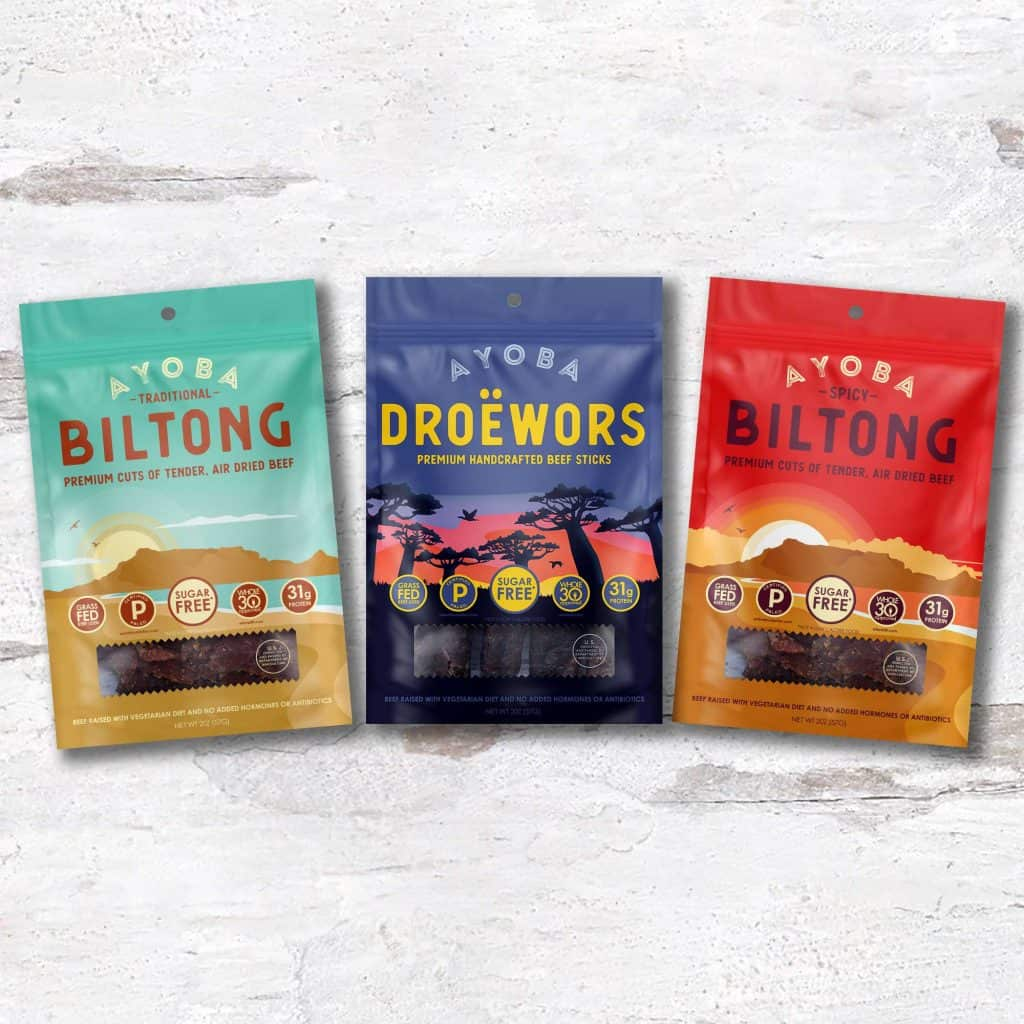 Ayoba Biltong Jerky - Air Dried Beef - Sugar Free and MSG Free High Protein Snacks - Whole30 & Paleo Friendly