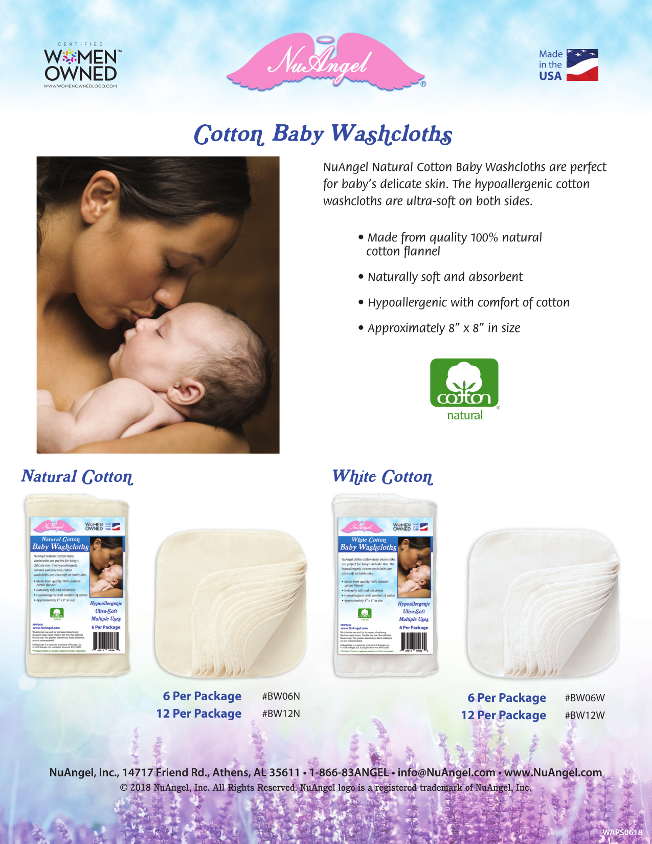 Made in USA baby products: NuAngel cotton baby washcloths