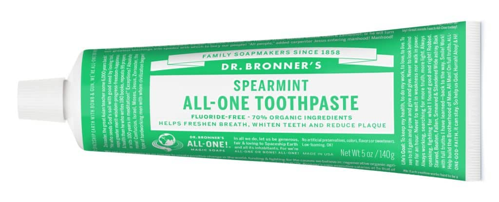 Dr. Bronner's Fluoride-Free, 70% Organic Toothpaste - Natural Toothpaste Made in USA