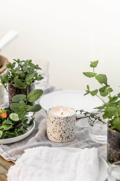 Linnea's Lights Crushed Mint Summer Garden Terrazzo Pot- Made in USA Double-wick, Small-Batch Soy Candles
