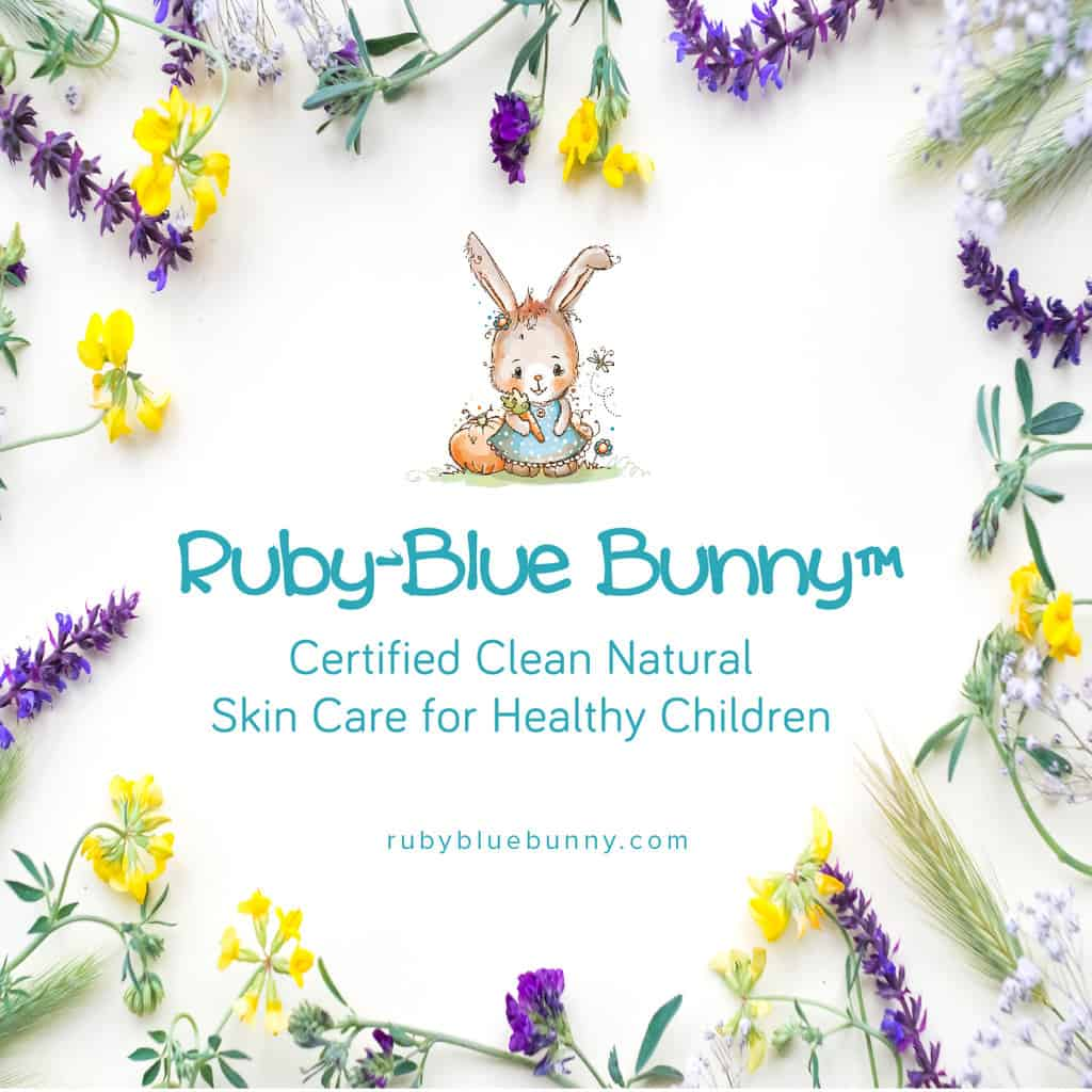 Made in USA Baby Products: Ruby-Blue Bunny clean skin care products for baby