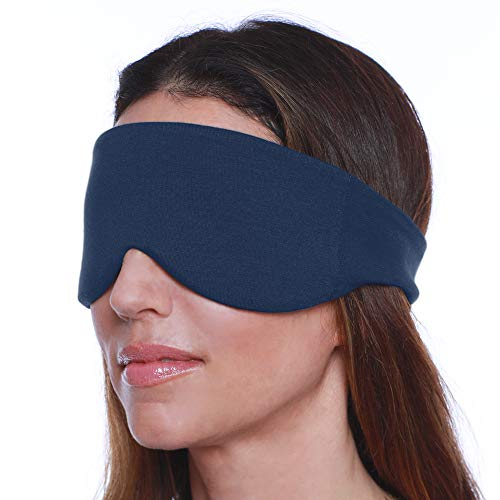 Happyluxe Sleep Mask for Women and Men, Contoured Face Mask & Blindfold, Eco Friendly, Soft Eye Mask, Comfort Eye Shade Cover for Travel, Napping, Migraines. Made in USA (Navy Blue)