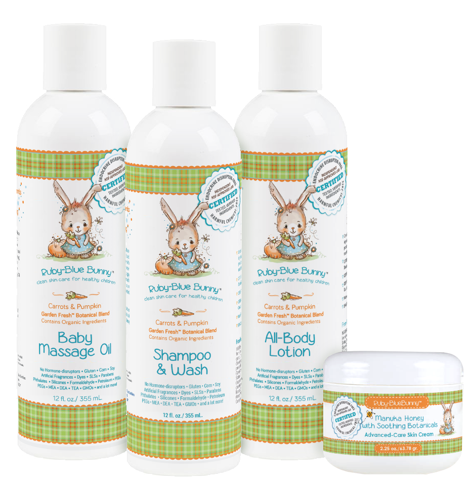Made in USA baby products: Ruby Blue Bunny clean skincare for baby Take 15% off all orders at RubyBlueBunny.com with code USALOVE.  No expiration date.