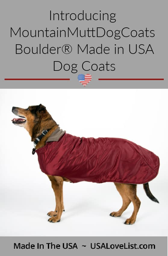 MountainMuttDogCoats Boulder made in USA dog coats for dogs of all sizes.