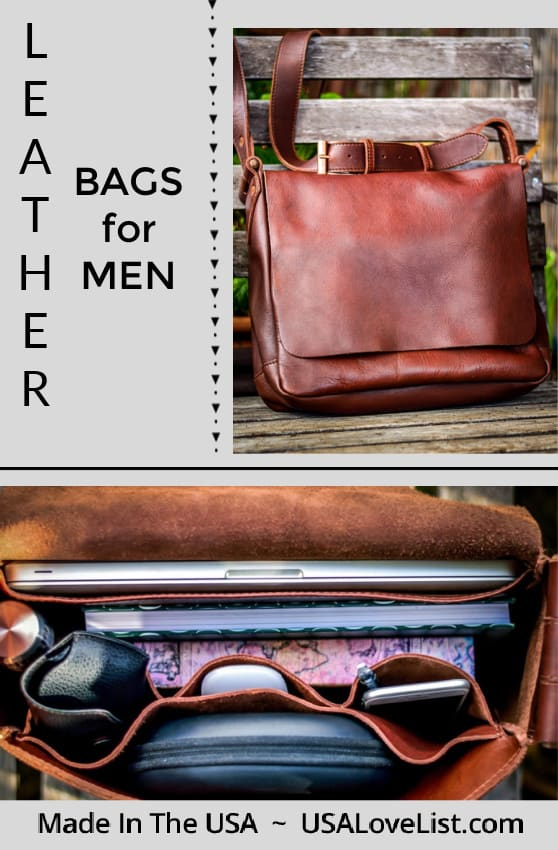 Leather Bags for Men, Made in the USA via USAlovelist.com #USAlovelisted
