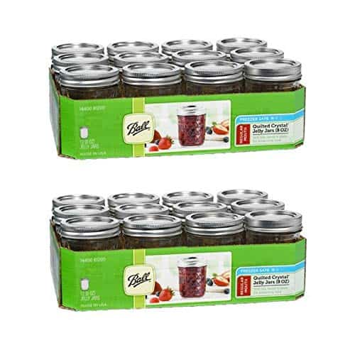 Ball Quilted Crystal Regular Mouth Half-Pint 8 Oz. Glass Mason Jars with Lids and Bands, 12 Count/box (2 Box)