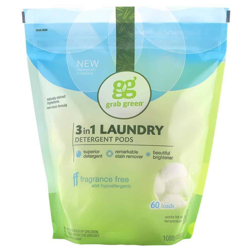 Grab Green 3-in-1 Laundry Pods - Cruelty Free, Fragrance-Free Detergent