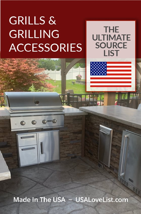 Made in USA Grills and Grilling Accessories: Image of RTA Outdoor Living made in USA kitchen islands. #usalovelisted #madeinUSA #grilling #grills