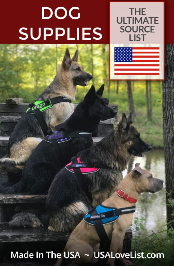 Made in USA Dog Supplies Source List featuring BrilliantK9 dog harnesses.