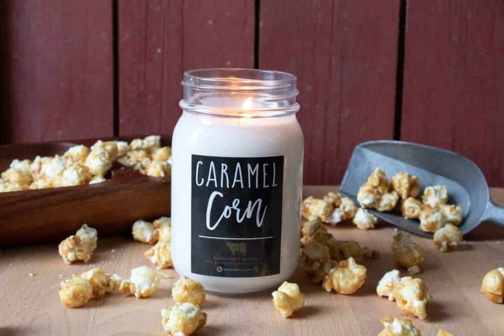 American Made Candles: Milkhouse Caramel Corn Candle - Soy Candle 120+ Hours of Burn - Made in USA Candles - Made in Iowa