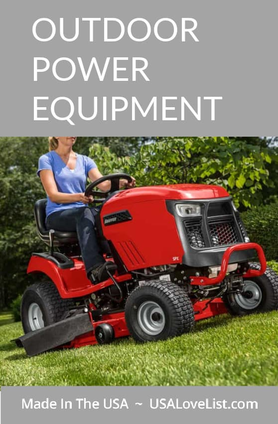 Made in USA Outdoor Power Equipment: Pictured here Snapper riding mower.