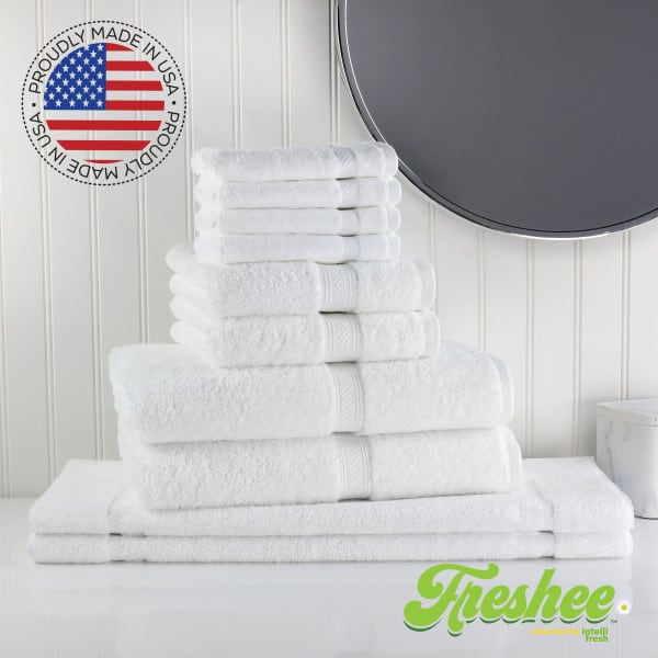 Luxury towels made in USA: Freshee 10 Piece Bath Set featuring Intellifresh™ technology in White.
