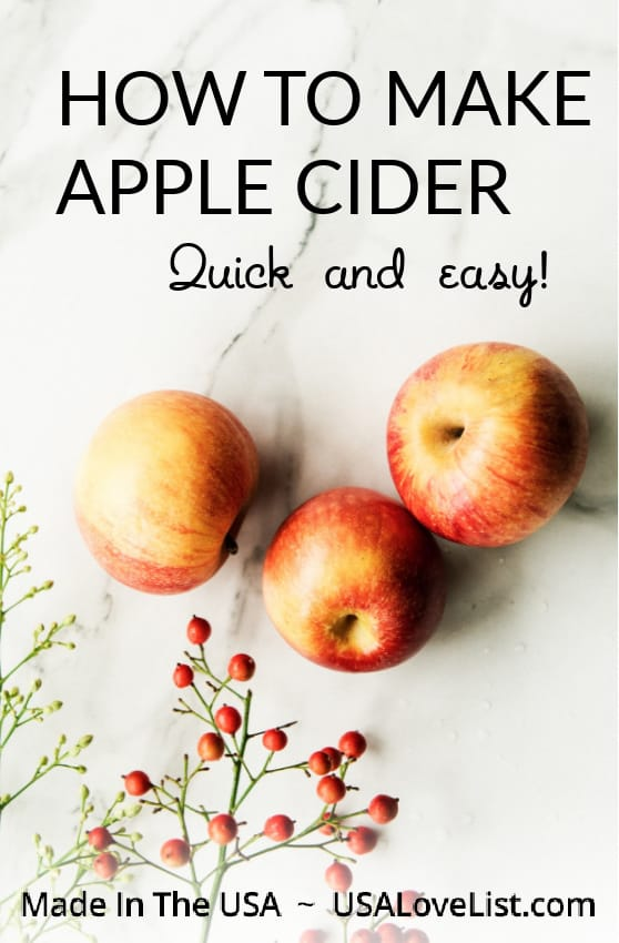 How to make apple cider from fresh, local apples--quick and easy with a juicer! #usalovelisted #fall #madeinUSA