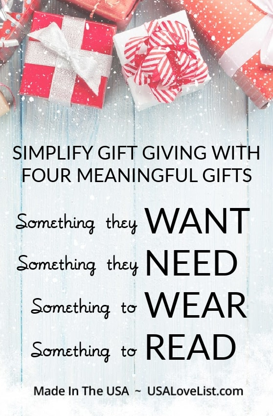 WANT, NEED, WEAR, READ. Simplify gift giving this holiday season. #usalovelisted #gifts