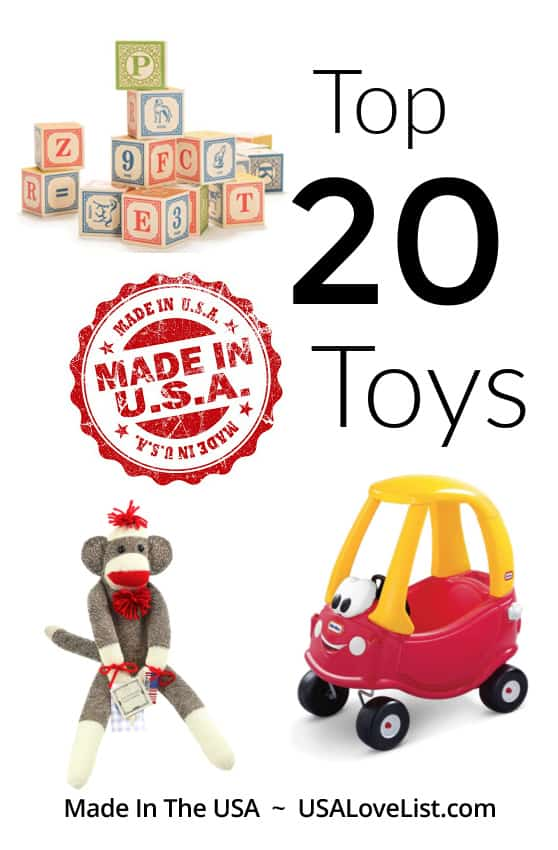 20 Toys made in USA: Our top picks, just in time for the holiday shopping season! #usalovelisted #madeinUSA #toptoys #toys