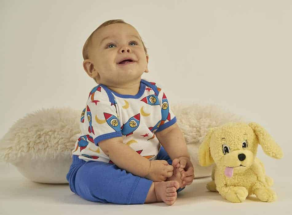 Made in the USA baby and toddler clothing: Brian the Pekingese organic pajamas. #usalovelisted #madeinUSA #baby #toddler #organic