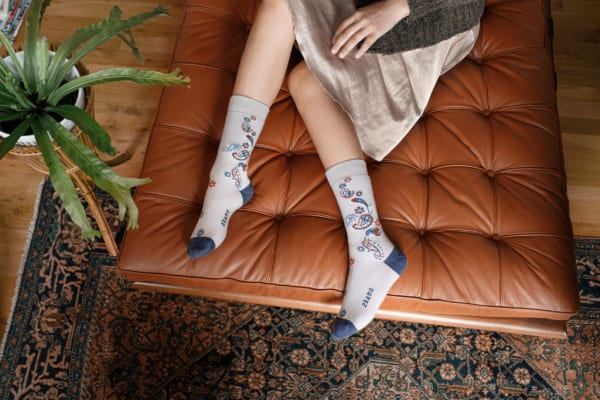 Made in USA women's clothing featuring Zkano organic fashion socks. Take 15% off Zkano American made socks with code USALOVE. No expiration date.
